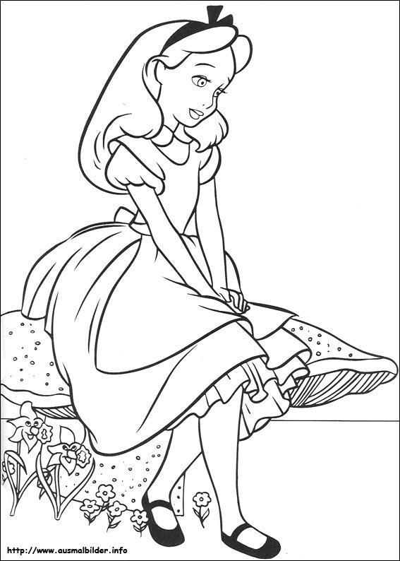 Ausmalbilder von Alice im Wunderland zum Drucken