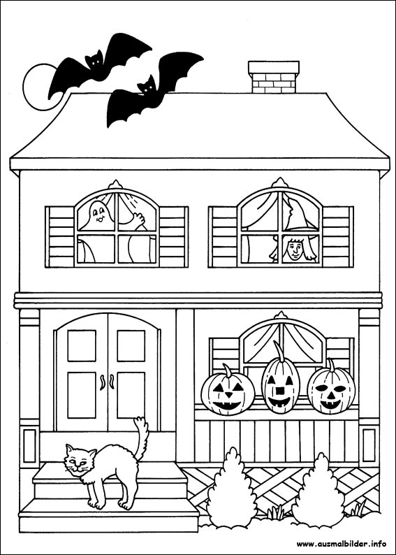 scary halloween house coloring pages - photo#15