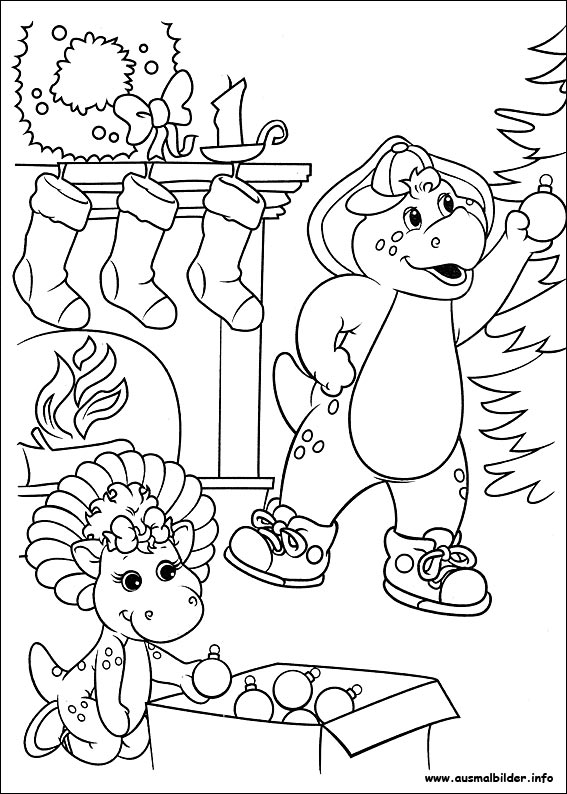 christmas barney coloring pages - photo#5