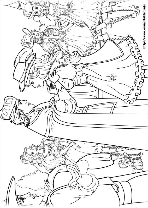 barbie und die drei musketiere malvorlagen